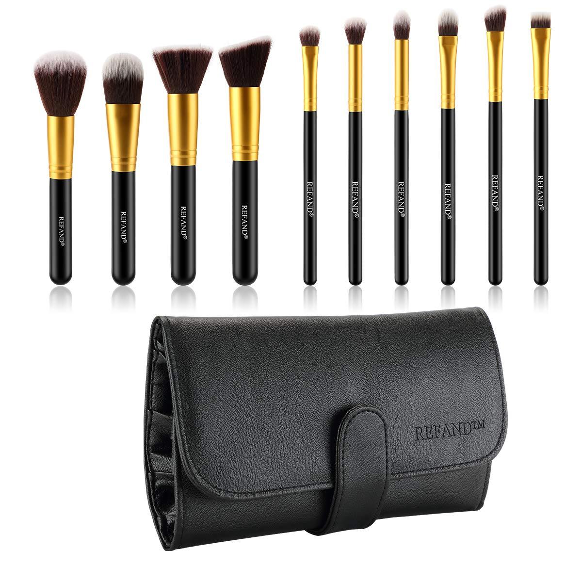 Amazon.com: Refand Makeup Brushes Premium Makeup Brush Set Professional Makeup Kit with Pu Leather Storage Bag Gold Black (10 pcs): Beauty