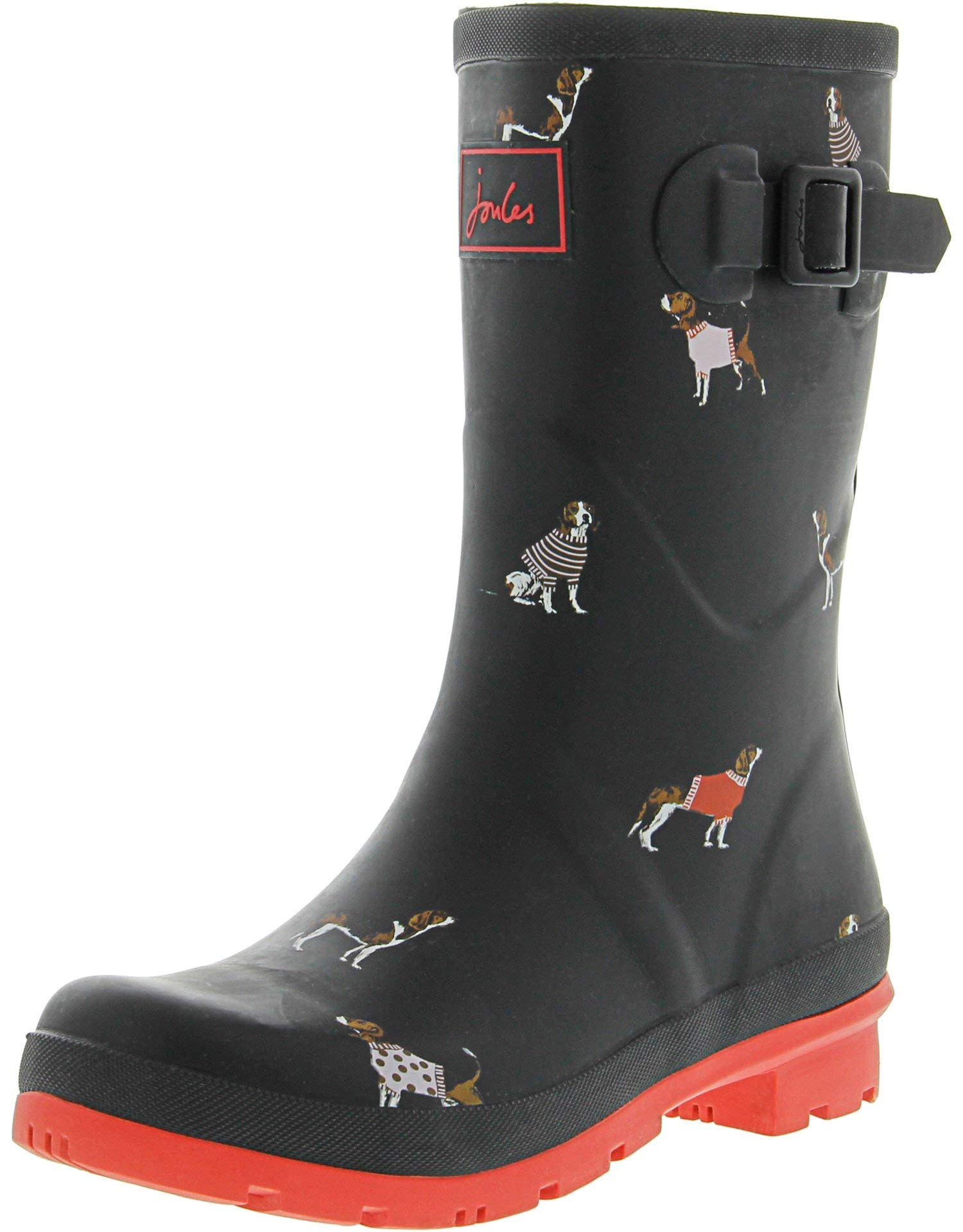 Joules Women's Molly Welly Rain Boot, Black Jumper Dog, 8 Medium US