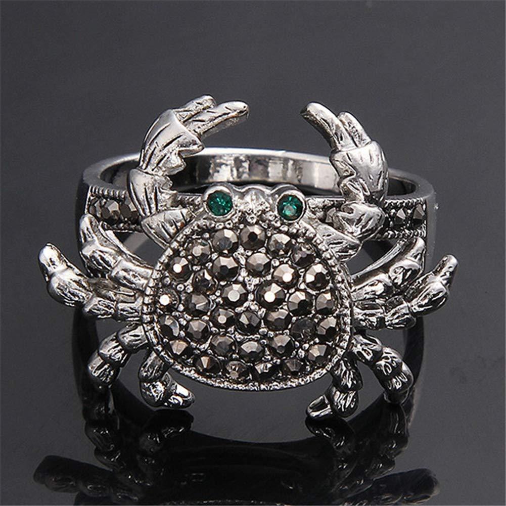 JAJAFOOK Women/¡/¯s Vintage Cute Rhinestone Crab Animal Rings Cocktail Statement Marcasite Crystal Finger Ring