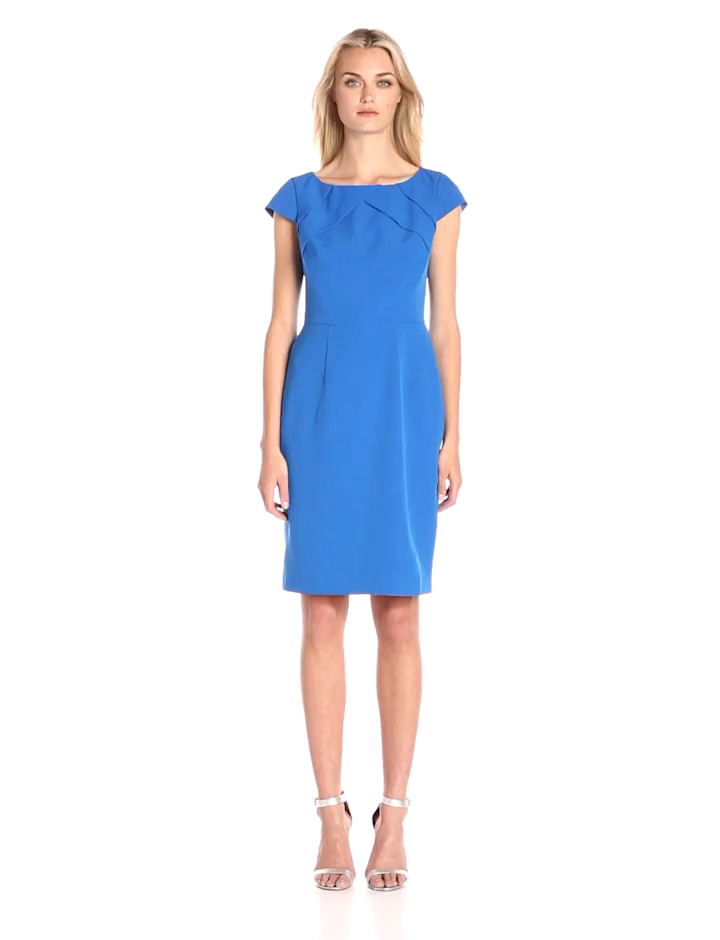 Adrianna Papell Womens Cap-Sleeve Origami Sheath Dress, Yves Blue, 6 at Amazon Womens Clothing store: