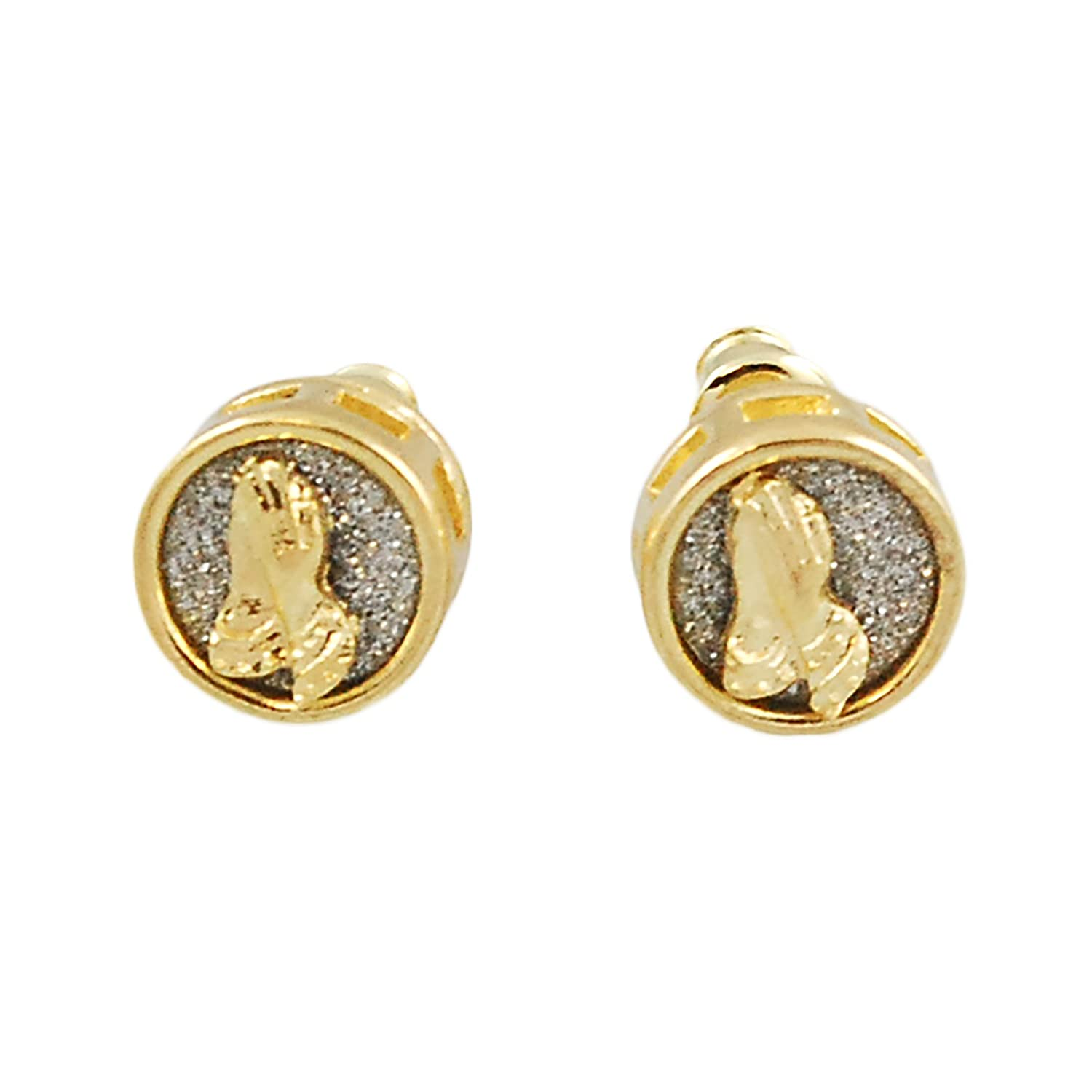 Mens Gold-Tone 8mm Iced Out Hip Hop Bling Stardust iPray Praying Hands Round Circle Earrings