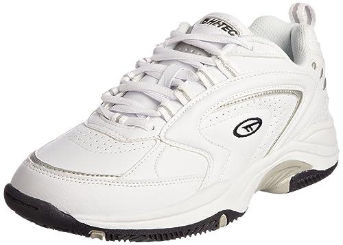 NUEVO Hombre/Caballeros Blanco Hi-Tec Ligero Eva Suela Intermedia Piel Zapatillas - Blanco - GB Tallas 7-14 - Blanco, 41