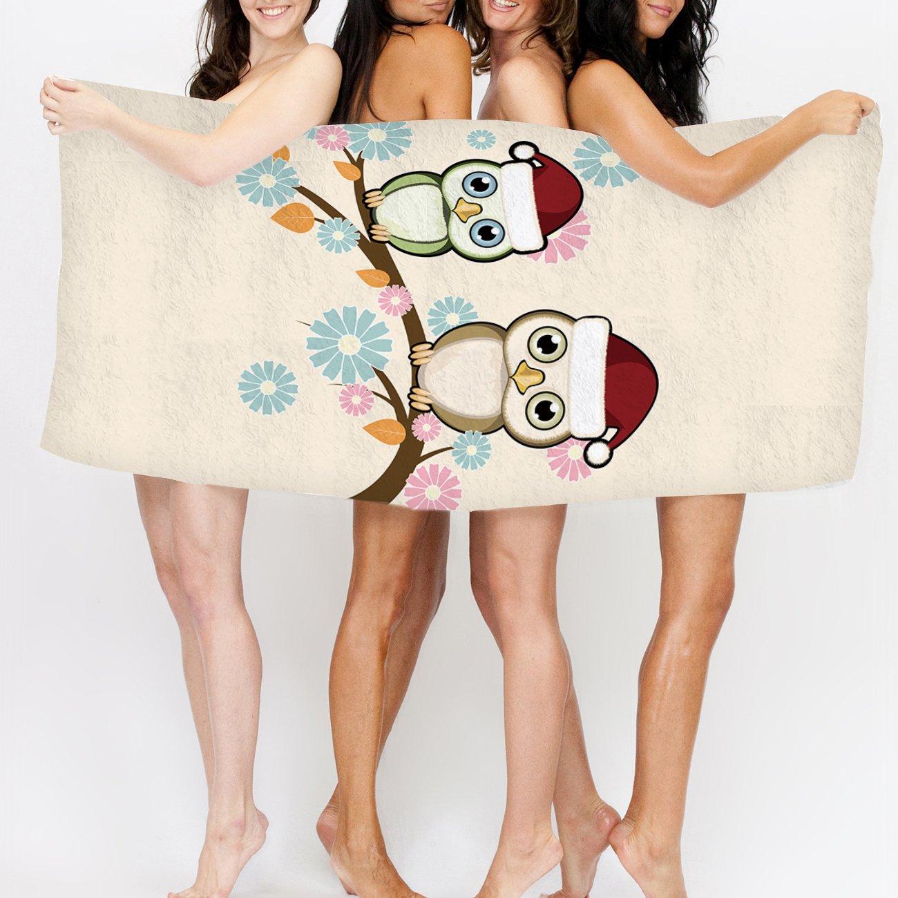 Toalla de baño familia búho con moderno diseño de gorro de Navidad Santa toalla de mano baño toallas de ducha de Wrap Playa Cuerpo para Hotel playa gimnasio ...