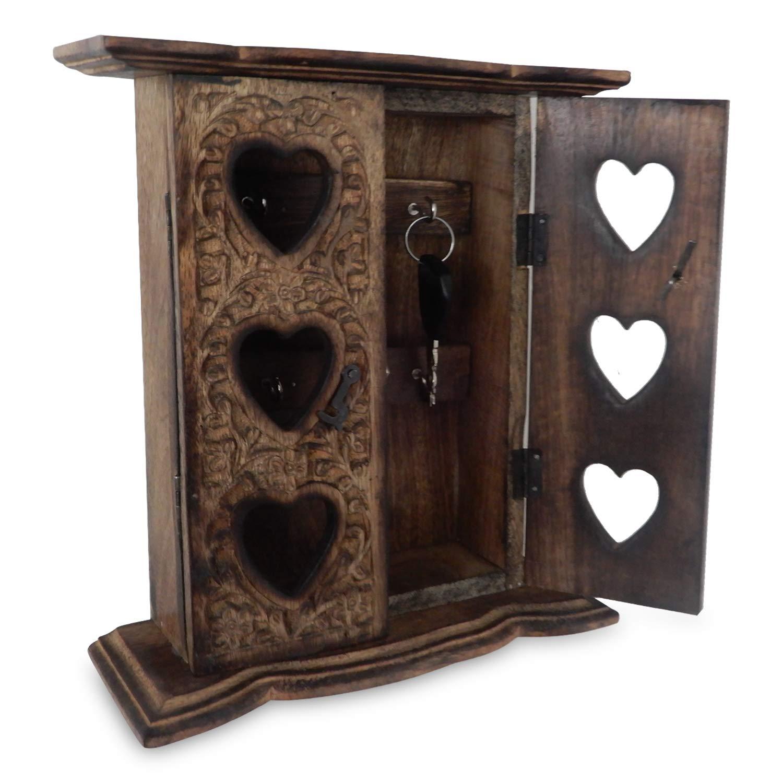 Regalo de la acci/ón de gracias para sus seres queridos Box Key Holder madera Puerta doble con Trabajo Talla