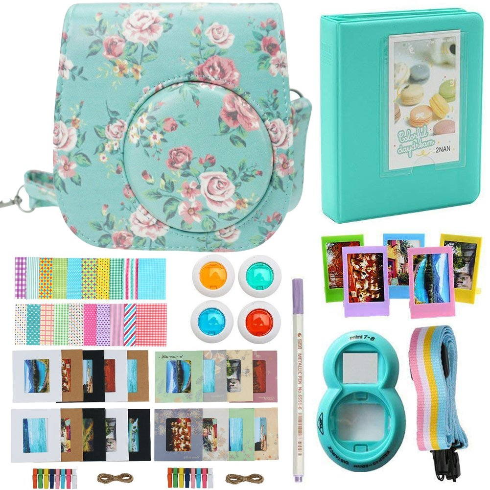 Alohallo Instax Mini 9/ 8/ 8+ Accessories for FujiFilm Instax Mini 8/ Mini 8+/ Mini 9 Instant Film Camera with Camera Case/ Lens / Mini Album/ Color Frame/ Sticker / Strap/ Pens/ Filter(Rose) by Alohallo