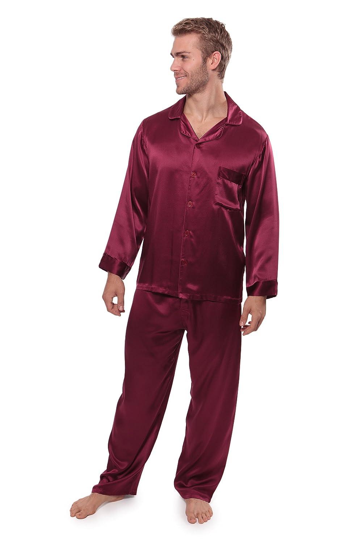 605af43339 TexereSilk Men s 100% Silk Pajama Set - Luxury Nightwear Pajamas (Milaroma)