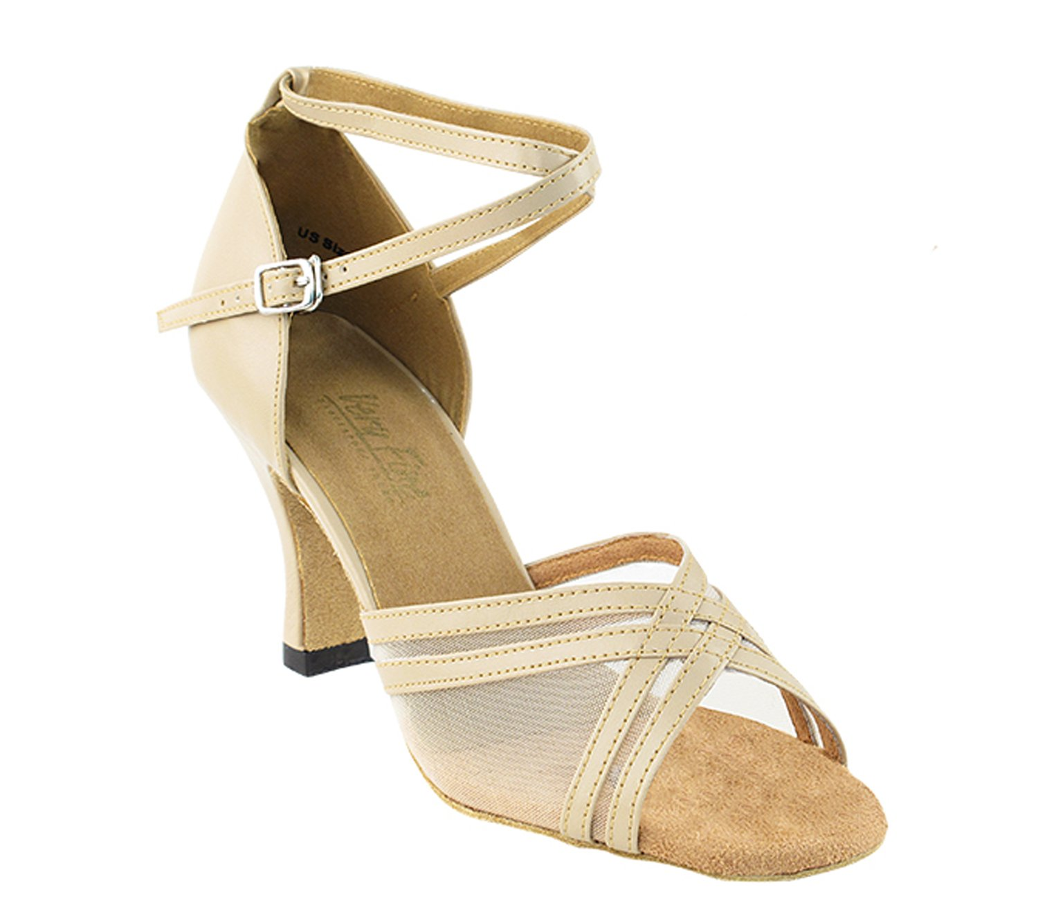 Very Fine Ladies Women Ballroom Dance Shoes EK5017 Tan Leather & Flesh Mesh 2.5'' Heel (7.5M)