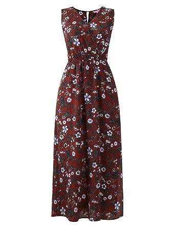 eb10e73f8de27 Regna X Boho for Woman s Leafs Flowy Comfort Brown Small Faux wrap Maxi  Dresses Chiffon