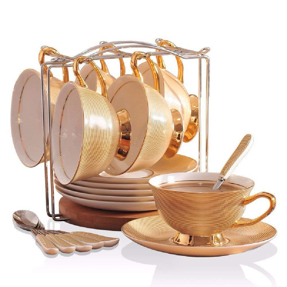 Kinue Exquisite Tea Cups Saucers Set Set Coffee Cup European Bone China Cup and Saucer Set Golden Afternoon Coffee Rack