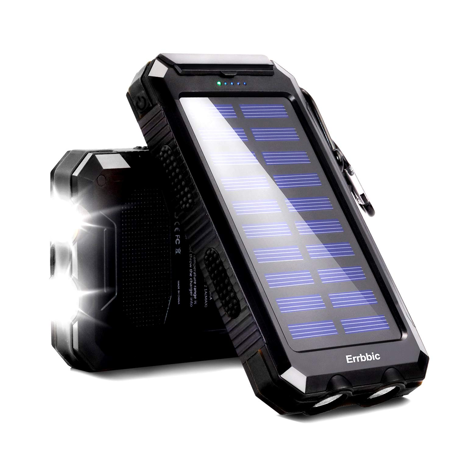 20000mAh Solar Power Bank Solar Charger Waterproof Portable Battery Charger with Compass for iPad iPhone Android Cellphones (Black) by ERRBBIC