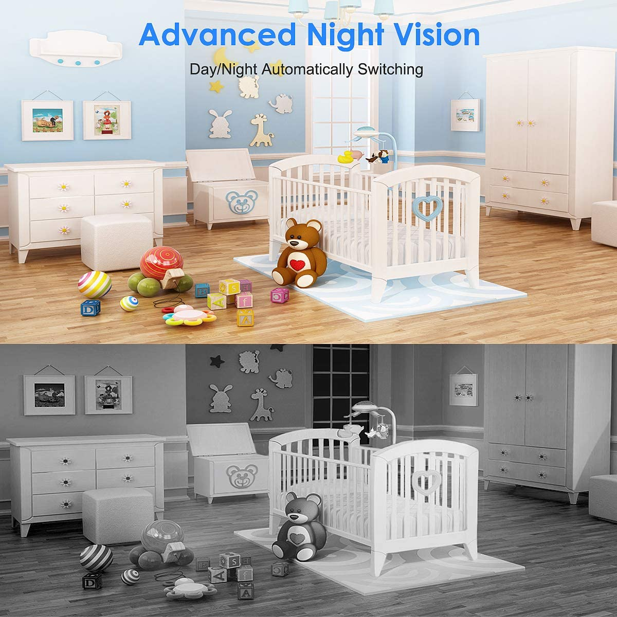 Baby Monitor Camera and Webcam 2 in 1, Camera Night Vision 1080p WiFi Camera for Home Security, iOS/Android
