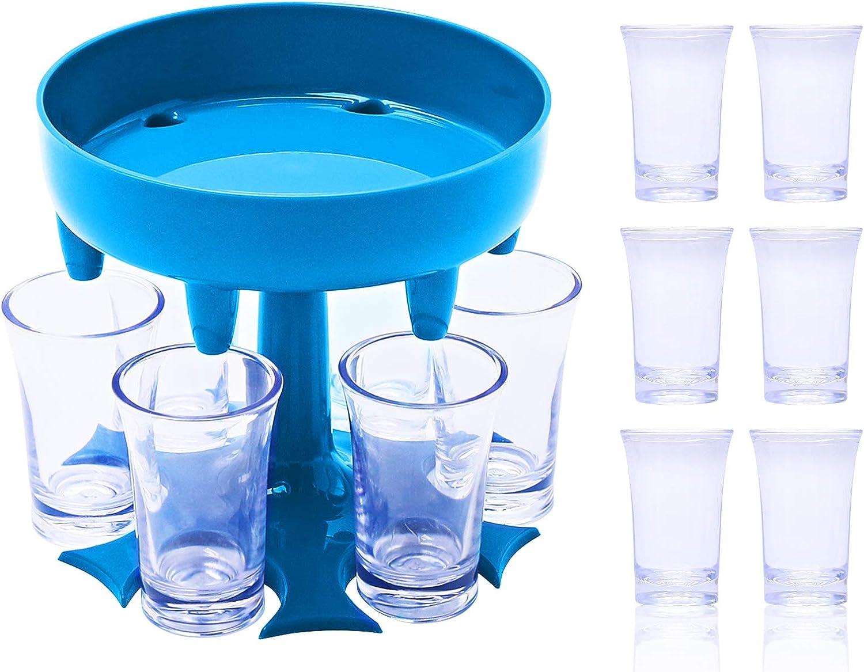 AISHNA 6 Ways Shot Glass Dispenser,Caddy Liquor Wine Dispenser Holder Stand with 6pcs Cups,for Bar,Cocktail Dispenser,Drinking Games,Party (Blue)