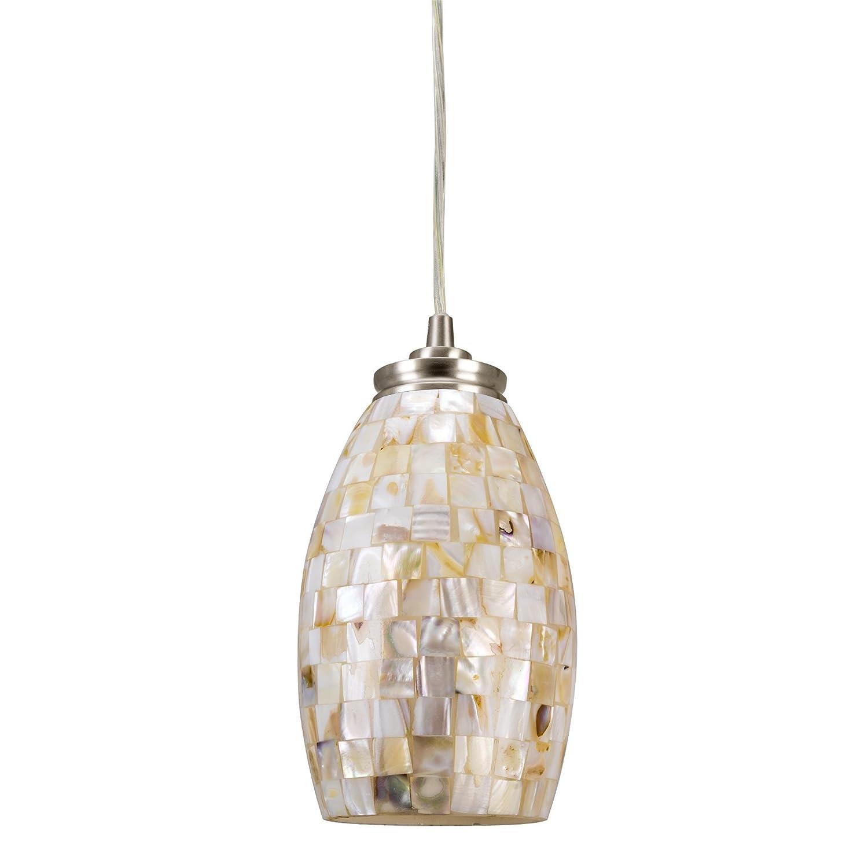 Kira Home Coast 9 Contemporary Mini Pendant Light Hand-Crafted Mosaic Shell Glass, Satin Nickel Finish