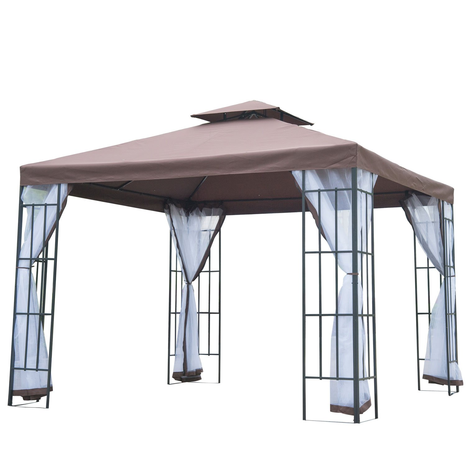 Outsunny 3m X Gazebo Marquee Metal Party Tent Canopy Pavillion Patio Garden Shelter Steel Frame With Mesh Sidewall And Water Strip Coffee Amazoncouk