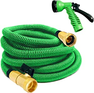"""MTB Upgraded Expandable Garden Hose,50-ft (Green) Extra Strenfth Fabric Garden Water Hose, with Spray Nozzle and 3/4"""" Solid Brass Fittings"""