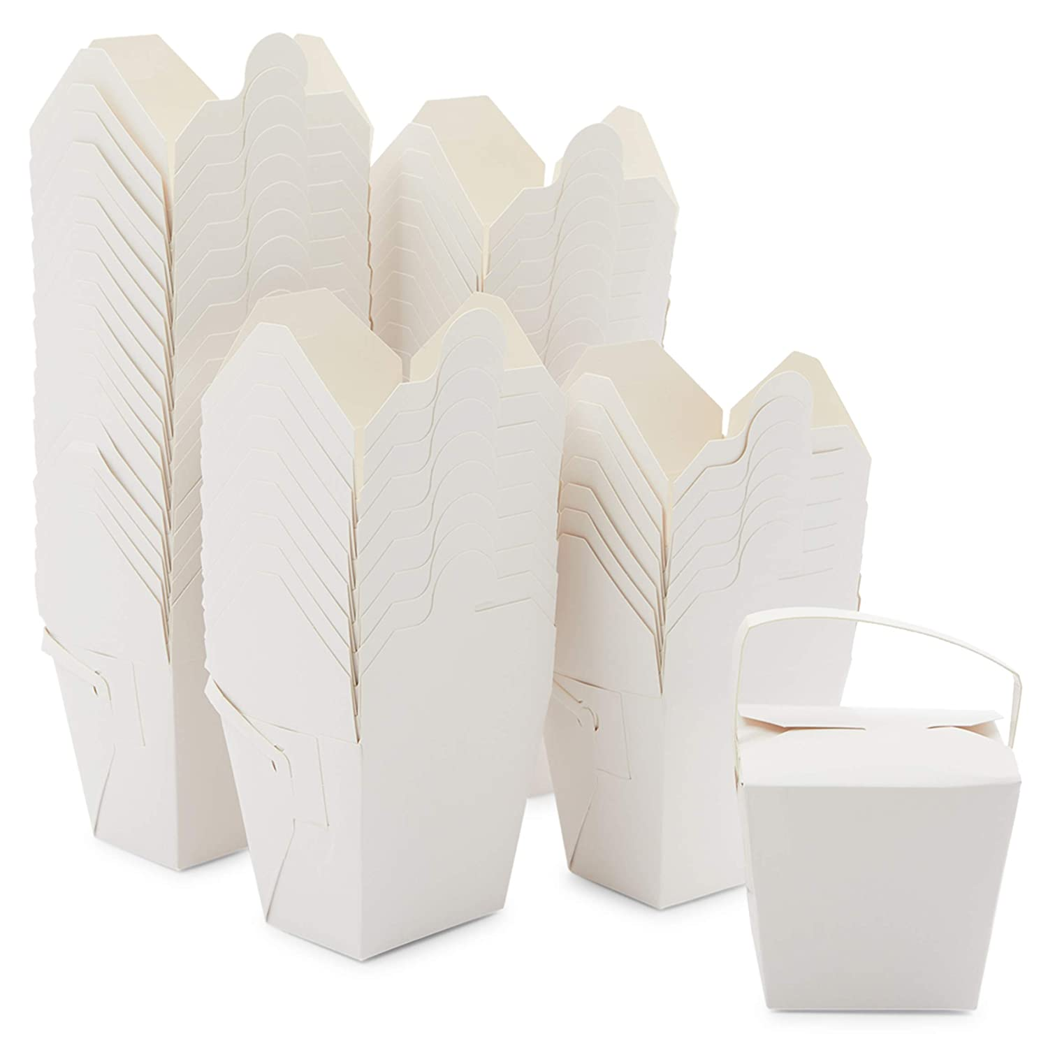 Take Out Boxes, White Paper to-Go Food Containers (16 oz, 50 Pack)