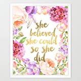 Eleville 8X10 She believed she could so she did Real Gold Foil and Floral Watercolor Art Print(Unframed) Kids art quote Teen room Wall Art Nursery Decor Motivational Art Inspirational Print Gift WG089