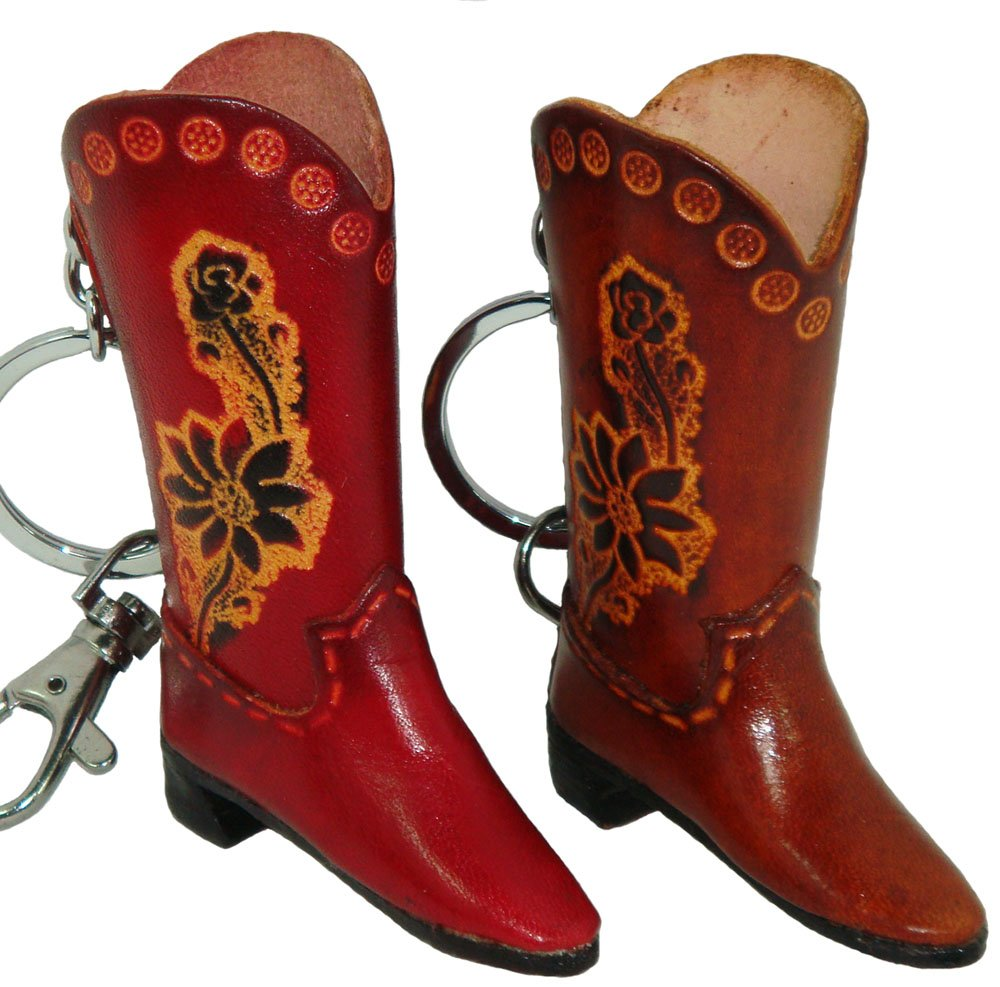 Genuine Leather charm/Key-chain,a Pair of the Lady's Boot Shape, Brown and Red