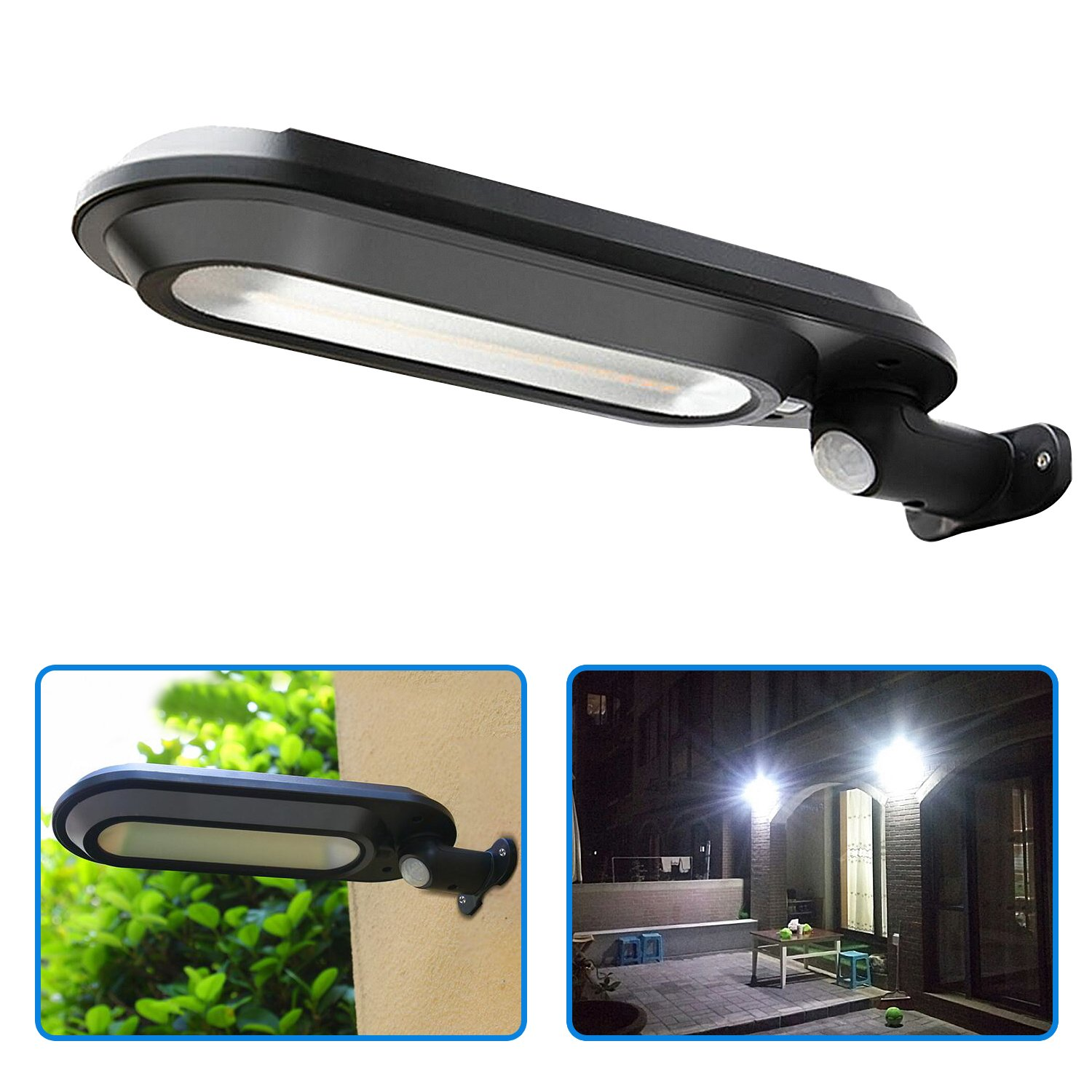 Solar Lights Outdoor Super Bright 18 LED Solar Motion Sensor Security Lights with Rotary Lamp Head 4 Working Mode Waterproof for Pathway Driveway Garden Wall Deck Yard Patio Stairway (Black)