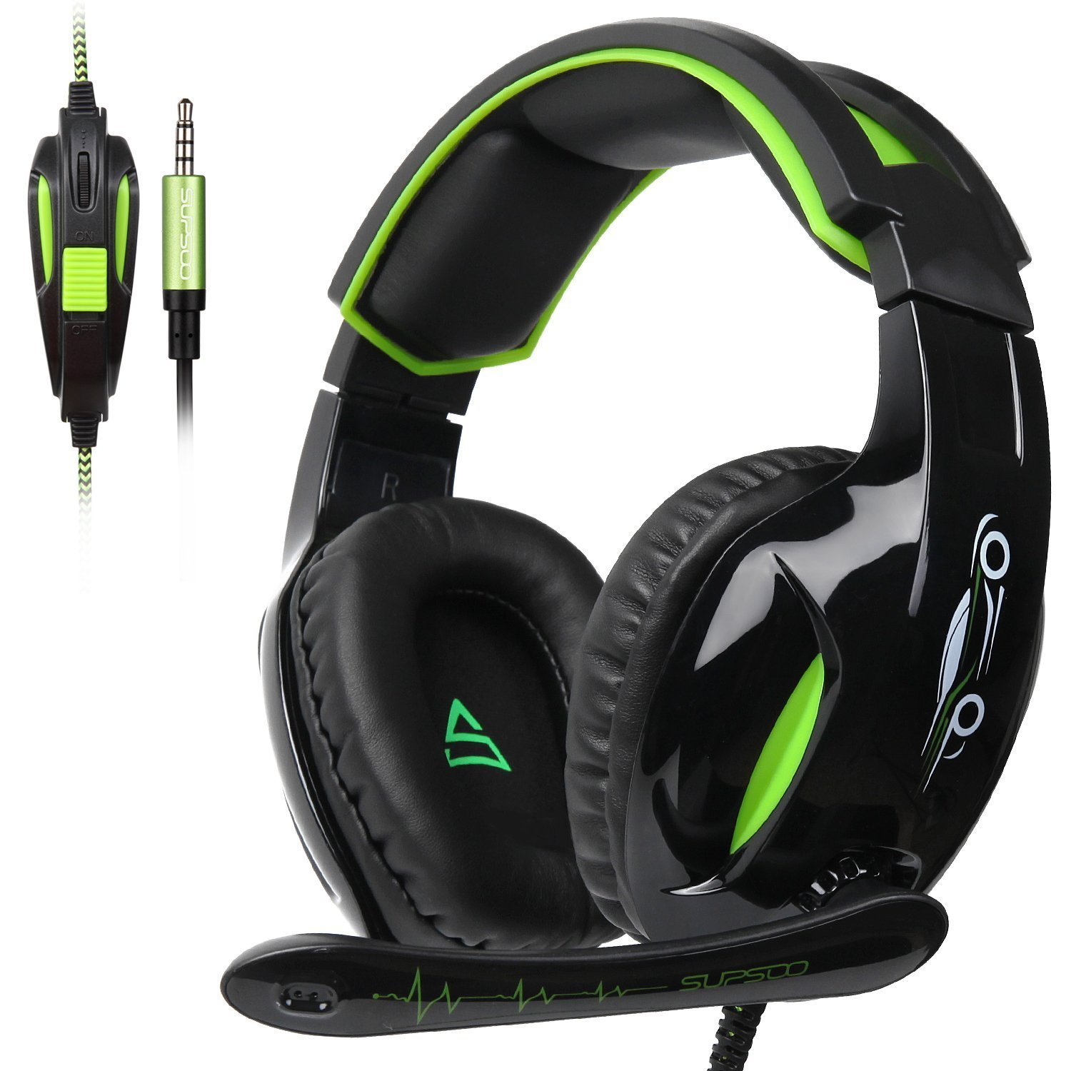 SUPSOO G813 Xbox one Gaming Headset 3.5mm Stereo Wired Over Ear Gaming Headset with Mic Noise Cancelling Volume Control for Xbox One PC Mac PS4 Nintendo Phone Black Green