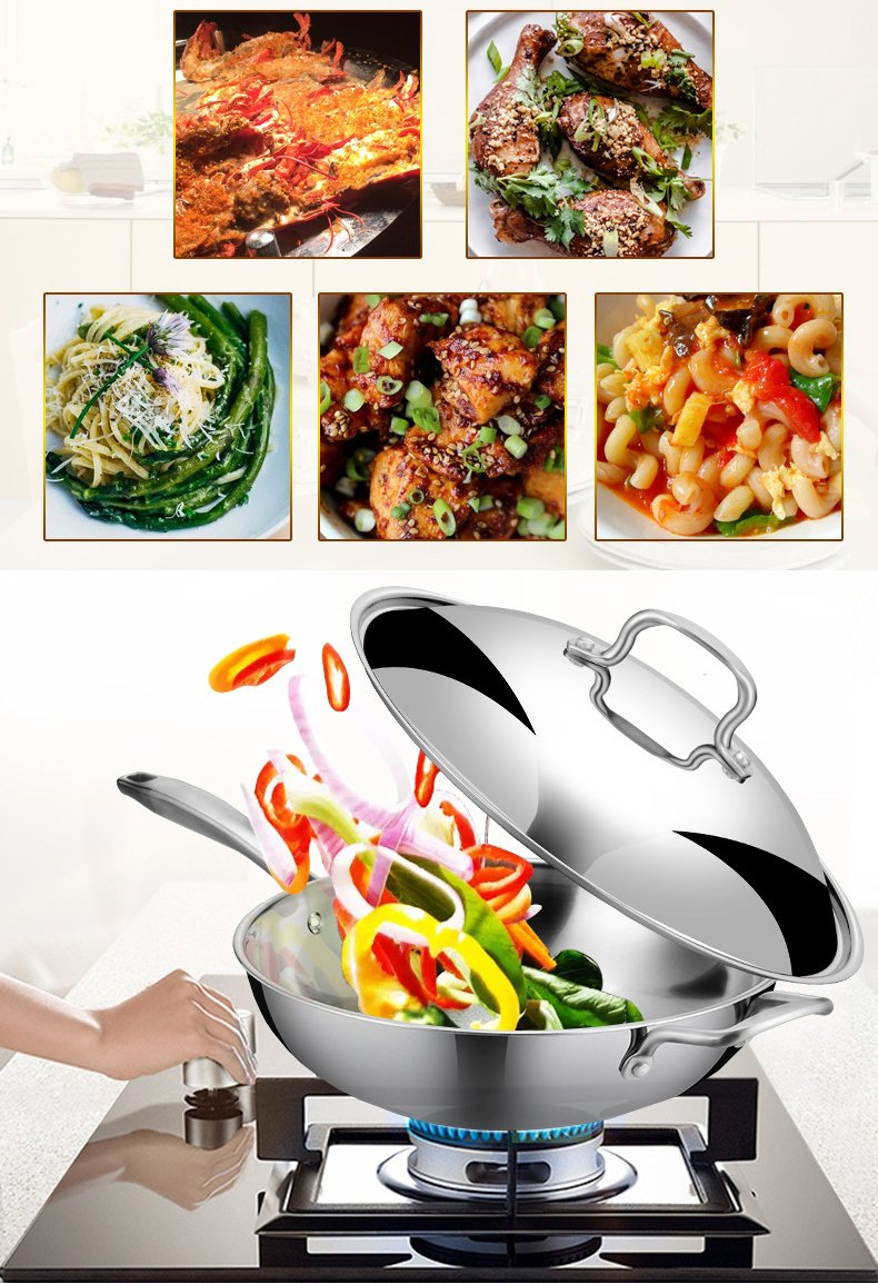 32CM Nonstick Skillet Wok Compound Multi-Layer Bottom 304 Stainless Steel with Safty Handle Dome Lid