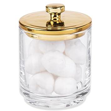 mDesign Organizador de cosméticos de Vidrio – Frasco de Cristal con Tapa – Mantiene Secos Productos
