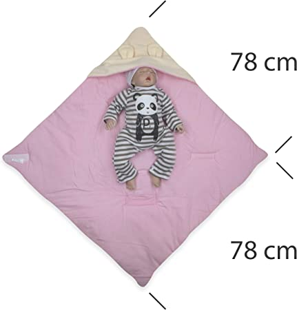 BlueberryShopThermo manta con capucha para envolver al bebé   Saco de dormir para bebés recién nacidos   Para bebés de 0-3 meses   Regalo perfecto para Baby Shower   78 x 78 cm   Blanco