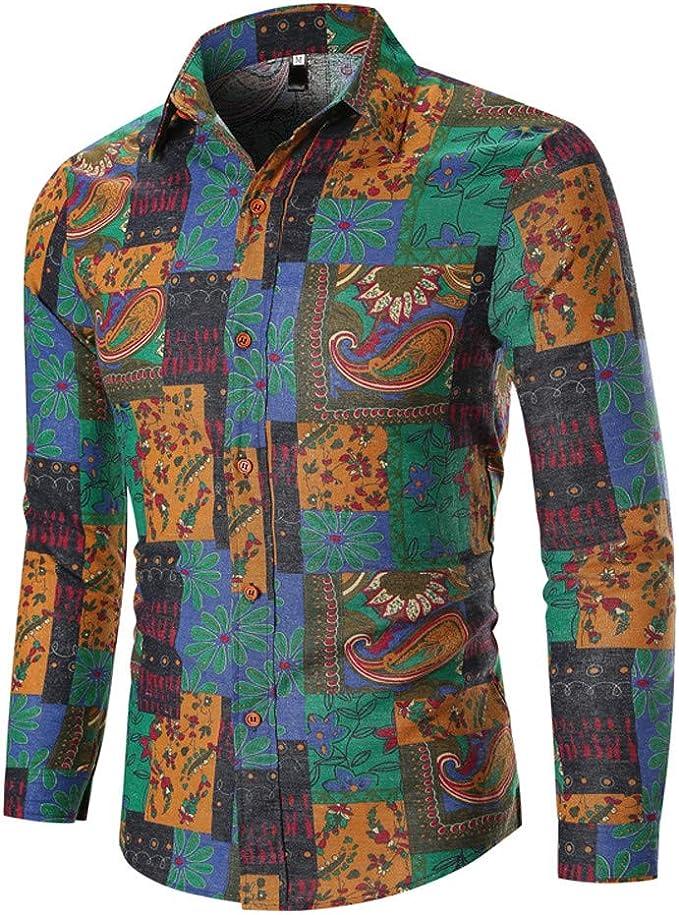 Camisa de Hombre Africana para Hombre, Cuello Reverso, Camisa de Flores, Chaquetas de Primavera, Verano, Talla Grande Verde M: Amazon.es: Ropa y accesorios