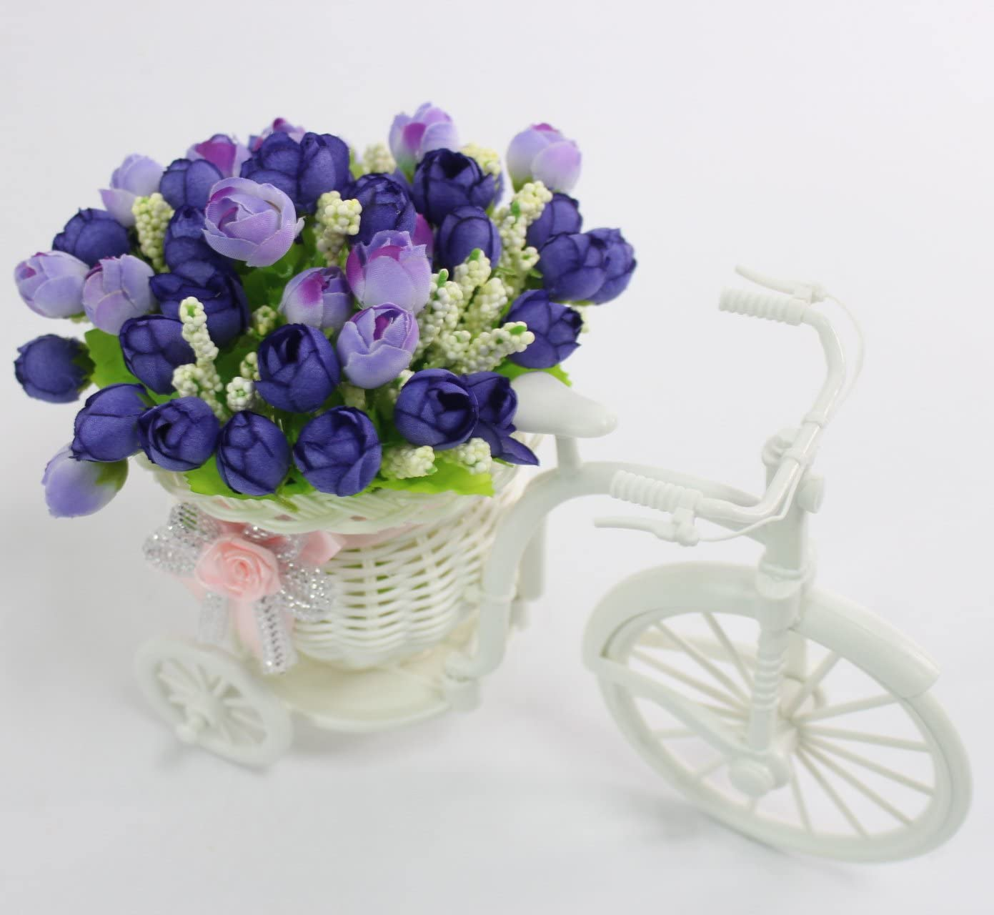 JAROWN Nostalgic Bicycle Plant Stand Artificial Rose Silk Flowers Hand-Woven Baskets Mini Garden for Home Decoration Autumn red