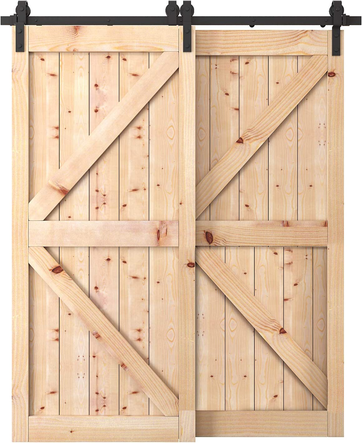 6.6 FT Antique Style Bypass Sliding Barn Wood Door Hardware Roller Track Kit
