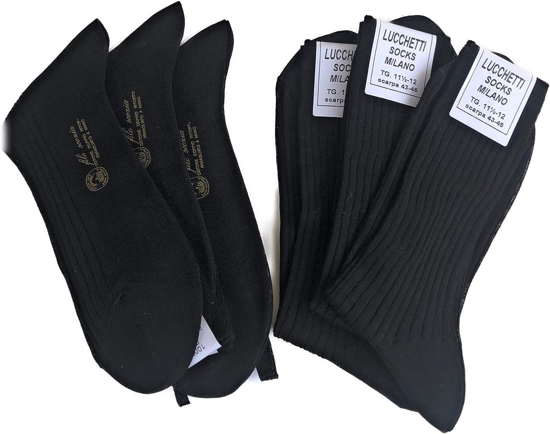 Lucchetti Socks Milano 6 PAIA calze da uomo CORTE filo di scozia 100/% cotone rimagliate Made in Italy