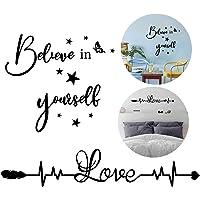 2pcs Pegatinas Pared Citas Inspiradoras Vinilos Frases Letras Motivadoras Inglés Stickers Adhesivos Negro Decoración…