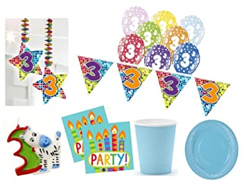 Xxl Party Deko Set 3 Geburtstag 54 Teilig Kindergeburtstag Fur 12