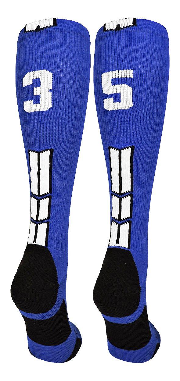 MadSportsStuffロイヤル/ホワイトPlayer IDカスタムover the calf Socks数(ペア) B07B7JDHSY Large|#35 #35 Large