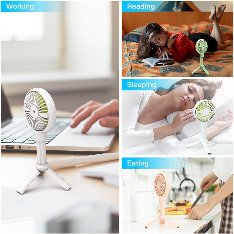 Vert Ventilateur /à Main GAVAER Mini USB Ventilateur Silencieux Portable de Table Petit Ventilateur Rechargeable avec Batterie 2000mAh Support T/él/éphone, Tr/épied Magn/étique
