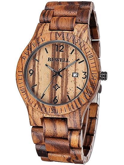 Alienwork Reloj Unisex Relojes Hombre Mujer Madera Zebrano marrón Analógicos Cuarzo Calendario Fecha Impermeable Madera Natural