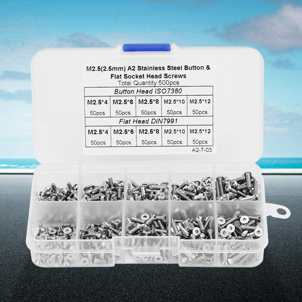 Hex Socket Screw Set 500pcs Box M2.5x4M2.5x6M2.5x8M2.5x10M2.5x12 Button//Flat Head Hex Socket Screw Set for Home Industrial