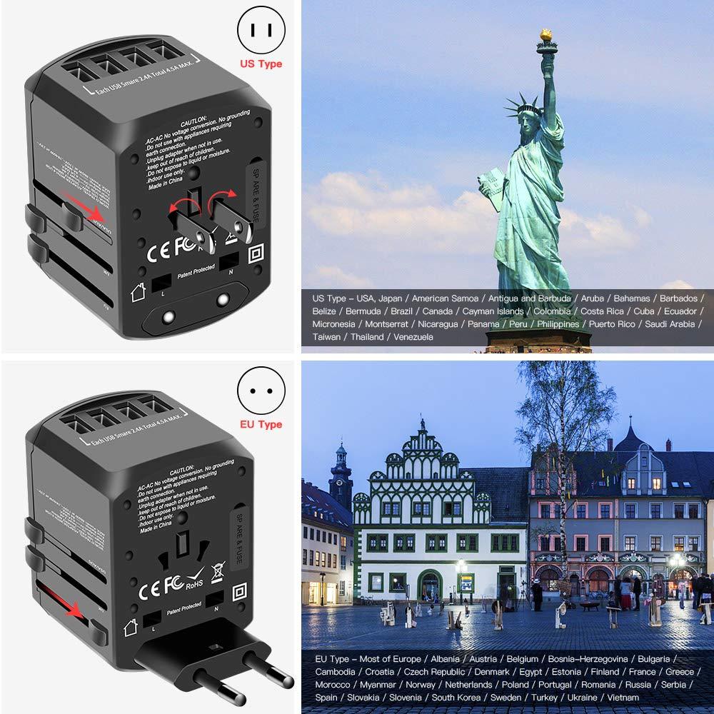 Reisestecker mit 4 USB Ports Typ-C und AC Ladestecker Internationale Reiseadapter f/ür Reisen Evershop Universal Reiseadapter Weltweit Reisestecker USB f/ür USA Thailand UK Asien /Über 170 L/ändern