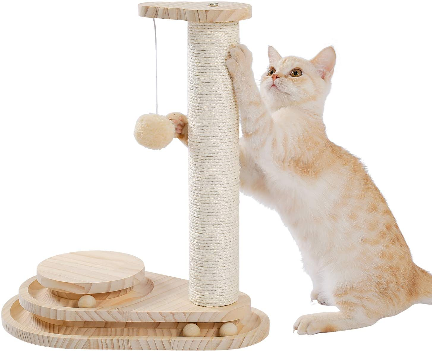 Made4Pets Two-Layer Wooden Cat Scratching Post Cat Toy Interactive Track Ball Turntable with Dangling Ball for Cat Beige