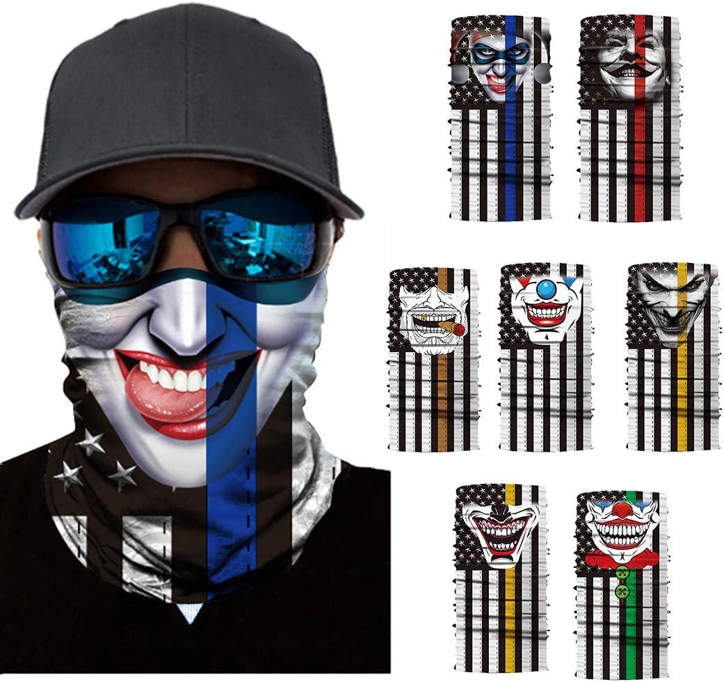 ShopINess Cache-Cou//Foulard Multifonctions Cr/âne//t/ête de Mort Clown