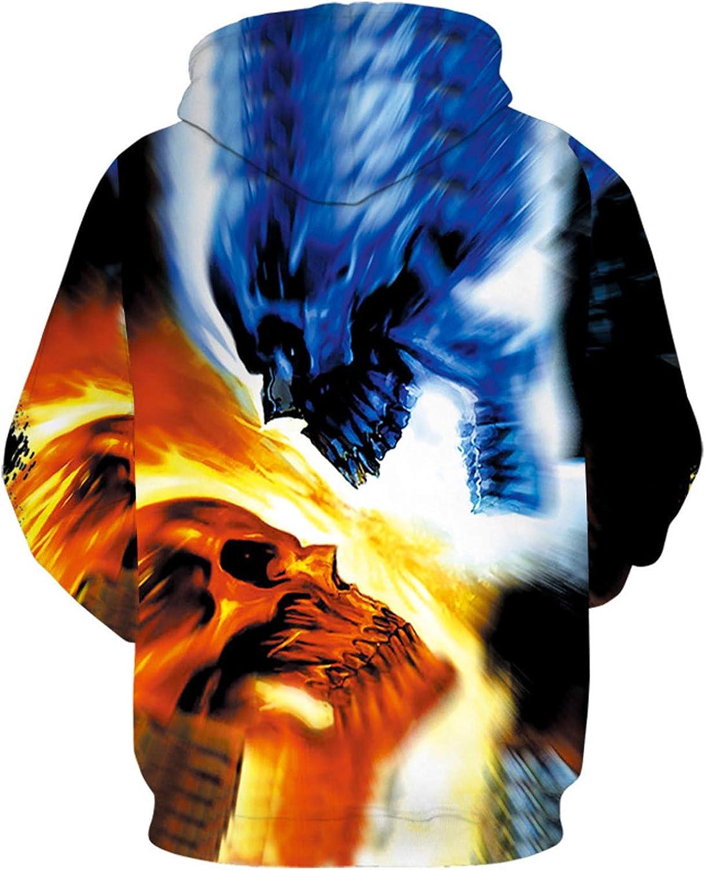 Aopostall Women Realistic Hooded Sweatshirt 3D Hoodie Skull Pattern Big Pocket Sweater Men