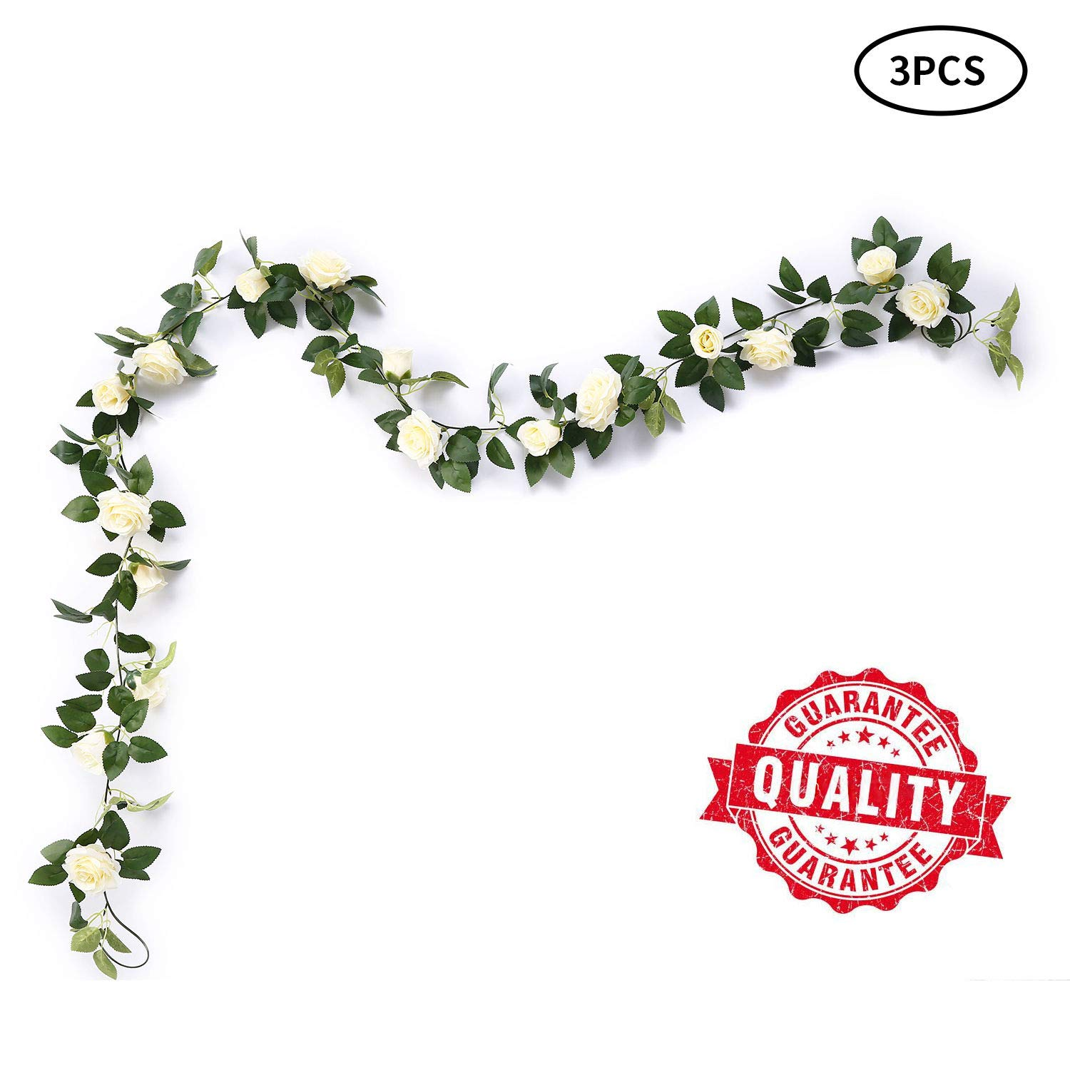 MEHELANY Artificial Rose Vine Flowers with Green Leaves 7.5ft Fake Silk Rose Hanging Vine Flowers Garland Ivy Plants for Home Wedding Party Garden Wall Decoration (Cream) (Cream, 3)…