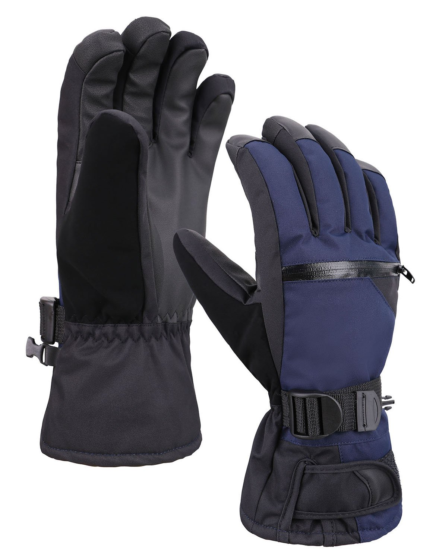 メンズ 3M シンサレート 全天候型 タッチスクリーン 雪 スノー スキー グローブ ファスナーポケット付き B0768BYWWX Medium|ネイビー ネイビー Medium