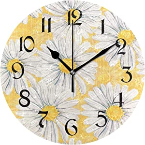 Tarity Daisies Flowers Wall Clocks Battery Operated Silent Non Ticking Modern Round Wall Clock Decor for Bedrooms Kitchen Living Room Classroom Office Farmhouse