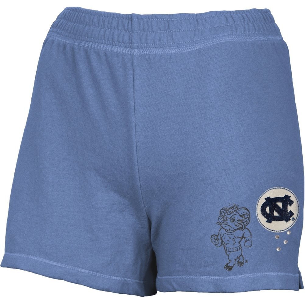 North Carolina Tar Heels - Glitter Logo Girls Youth Athletic Shorts Blue