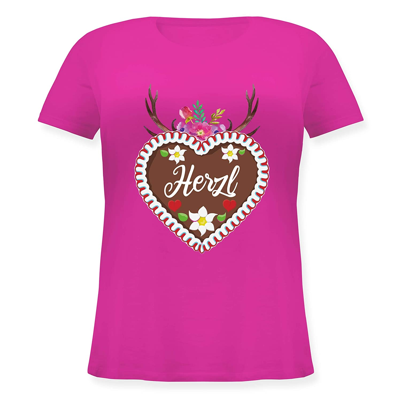 Lockeres Damen-Shirt in gro/ßen Gr/ö/ßen mit Rundhalsausschnitt Oktoberfest Damen Lebkuchenherz Herzl mit Geweih und Blumen