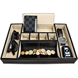 Dapper Effects Valet Tray Organizer For Desk, Dresser Top Or Nightstand - Deluxe Leather Storage, Jewelry, Watch, Key, and Wallet Box - Great Catchall Coin Holder - 7 Compartments - For Men or Women