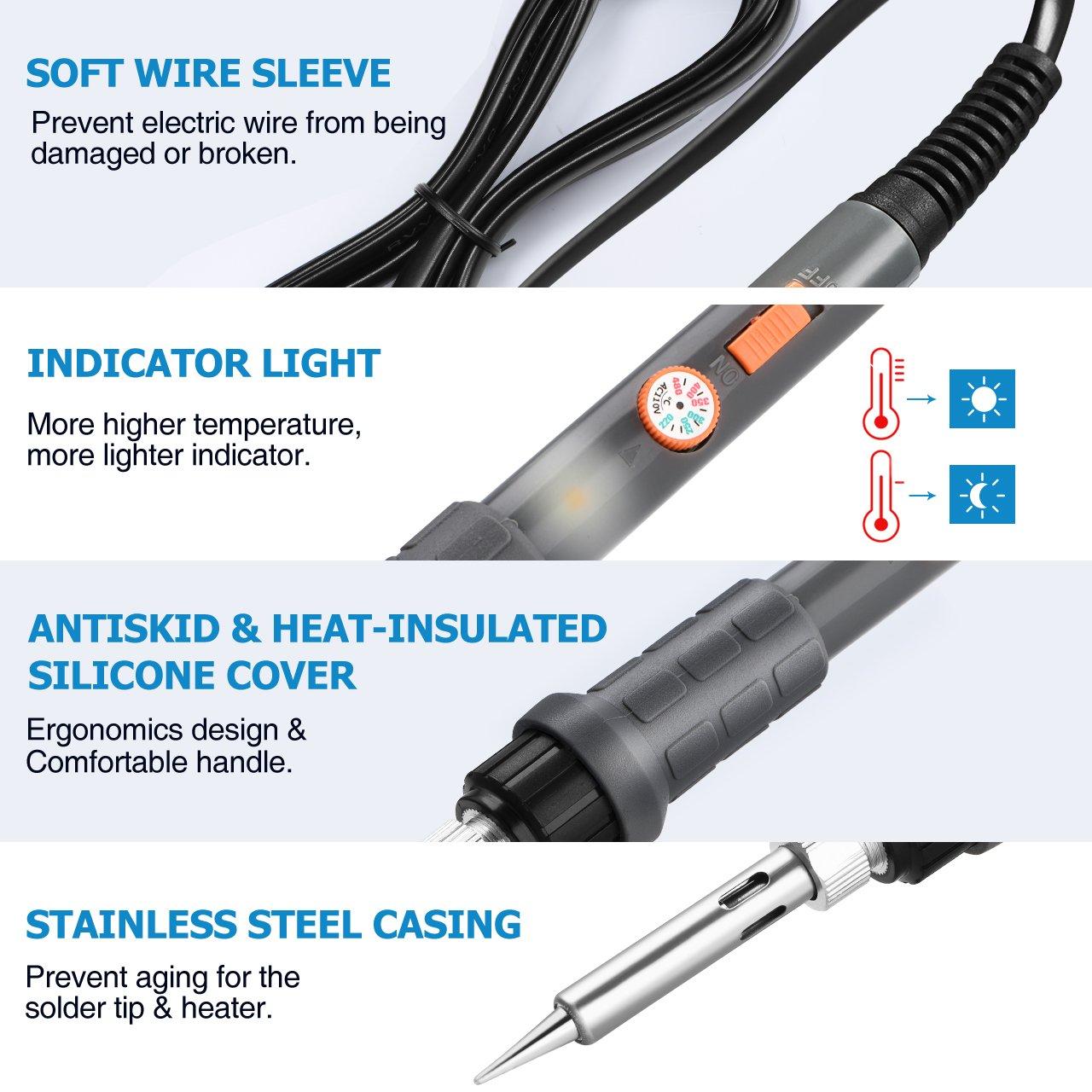HoLife Soldador de Estaño Profesional 220v 60w con Interruptor Temperatura Ajustable(220-480 ° C) y 5PCS Puntas Diferentes de Soldador Electrico: Amazon.es: ...
