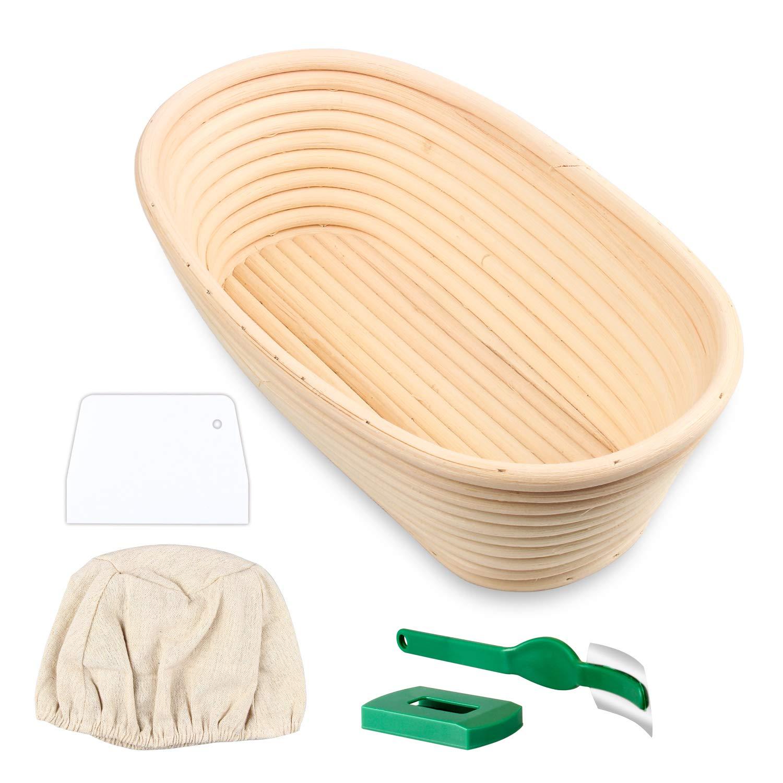 Wooputne Bread Proofing Basket, Prooving Rattan Bamboo Dough Baskets Oval for Banneton Bread Baking