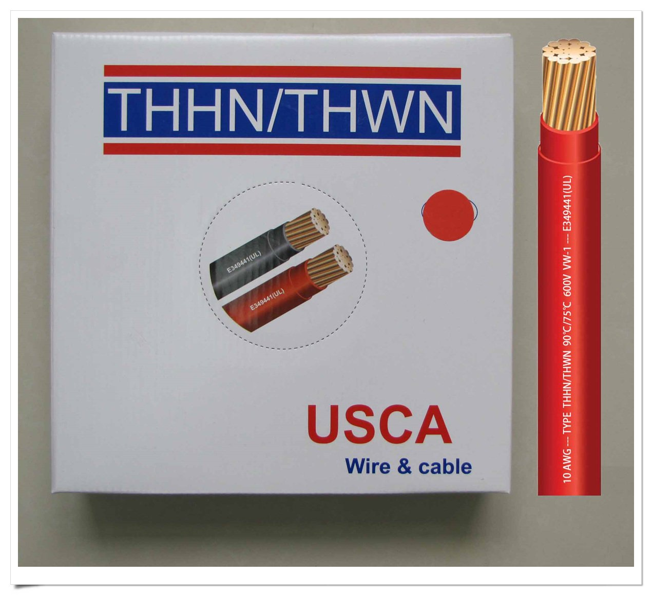 USCA Stranded THHN / Thwn 10 AWG建物ワイヤ, 100 ft、レッド、600ボルト、90 C B011MOHPH8